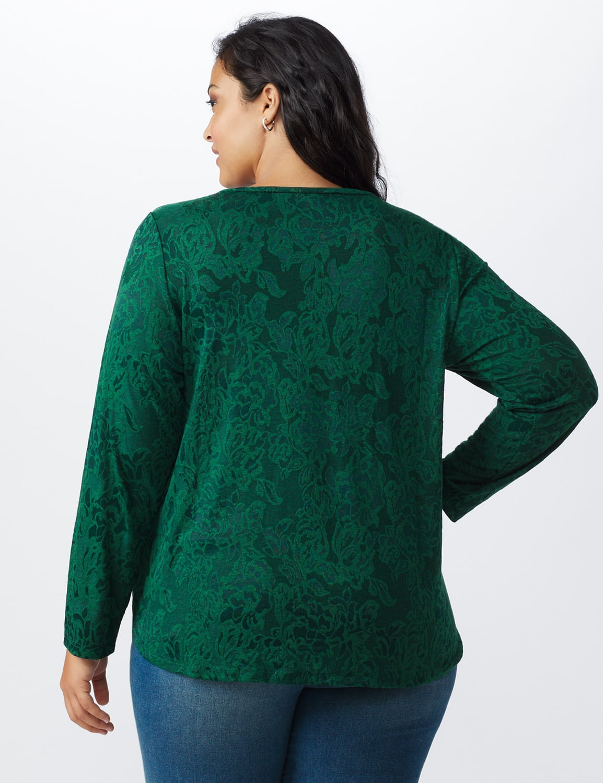 Jacquard Knit Top - Plus - Forest - Back