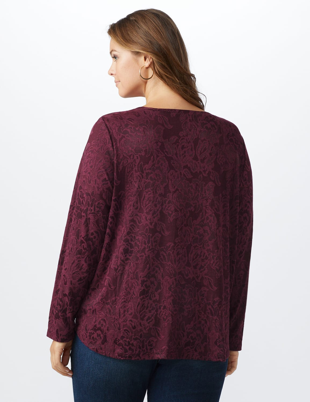 Jacquard Knit Top - Plus - Merlot - Back