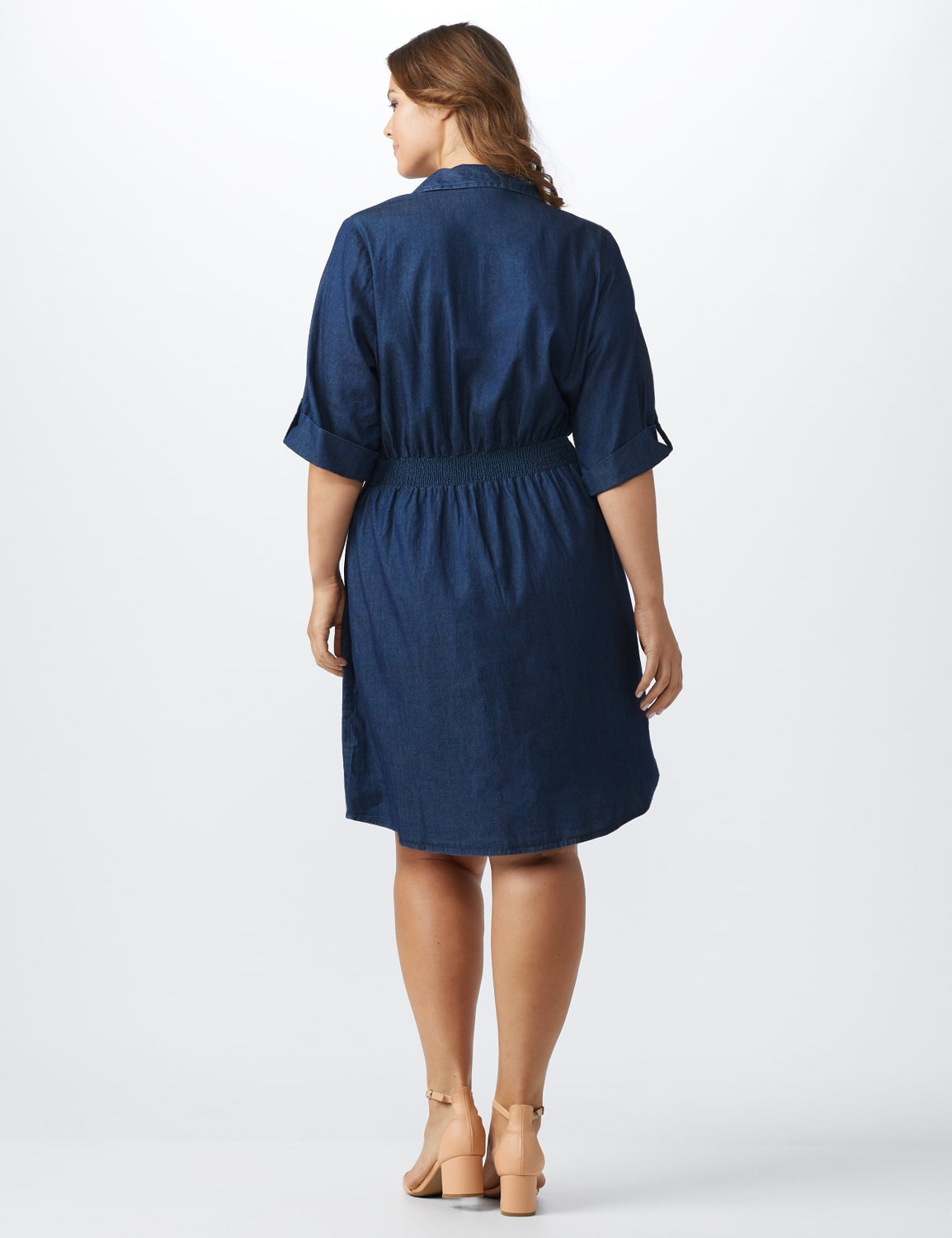 Roll Tab Denim Shirt Dress - Plus - dark denim - Back