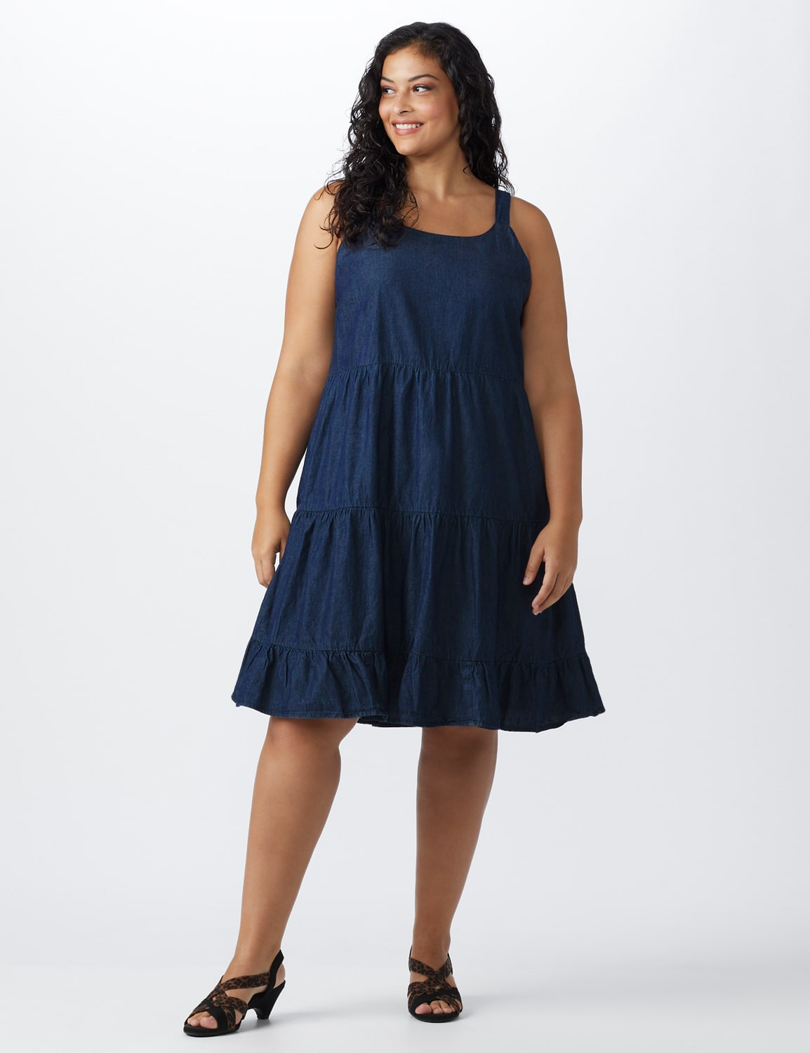 Denim Tiered Tank Dress - Plus - dark wash - Front