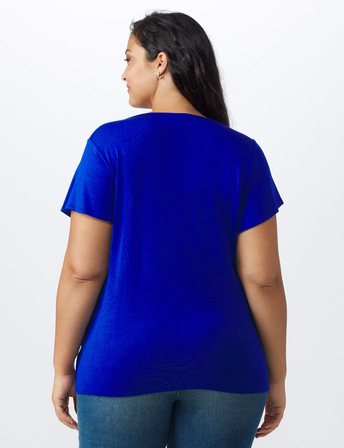 Flutter Sleeve Crochet Trim Knit Top - Royal - Back