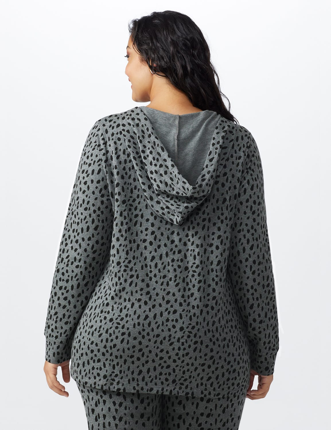 DB Sunday Animal French Terry Knit Hoodie -Plus - Gray / Black print - Back
