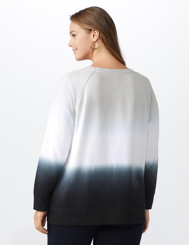 Dip-Dye Crew Neck Sweatshirt - Grey dip dye - Back