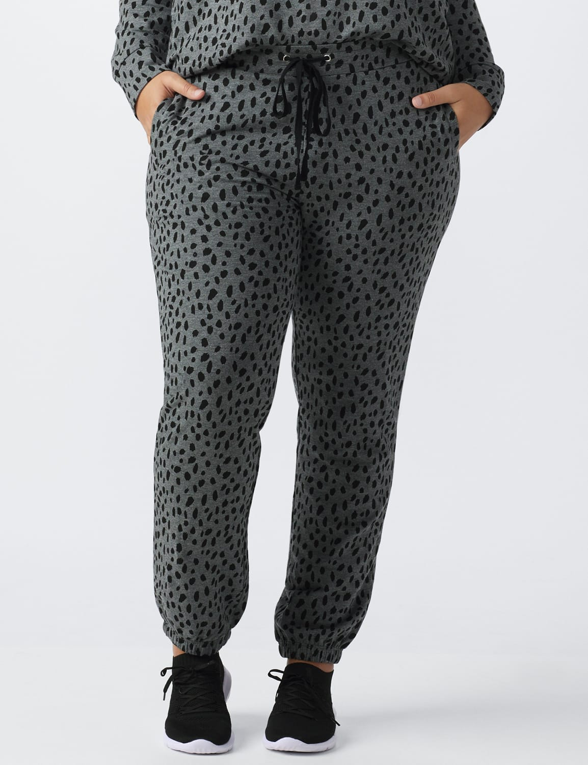 Animal French Terry Knit Jogger - Plus - Gray / Black print - Front