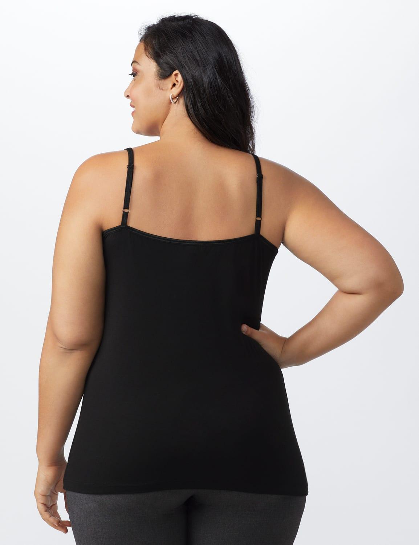 Lace Trim Rayon Spandex Cami - Black - Back