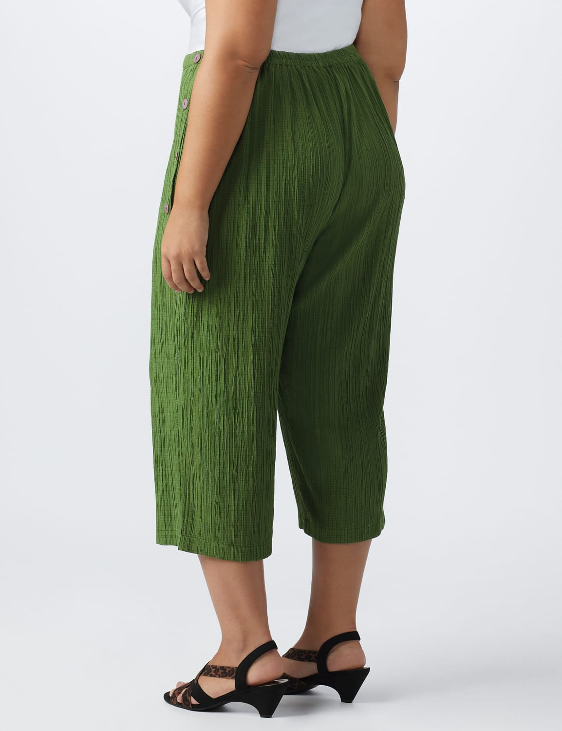 Plus Pleated Crop Pant  with button trim detail - Olive - Back