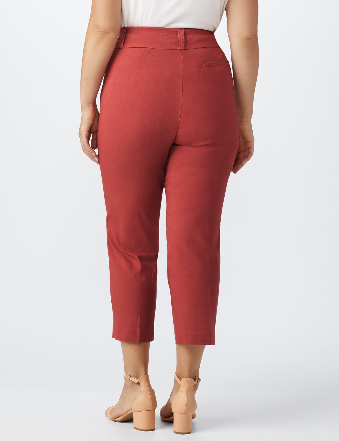 Plus- Pull On Ankle Length Pants With Zipper And Metal Tab - Terra Rose - Back