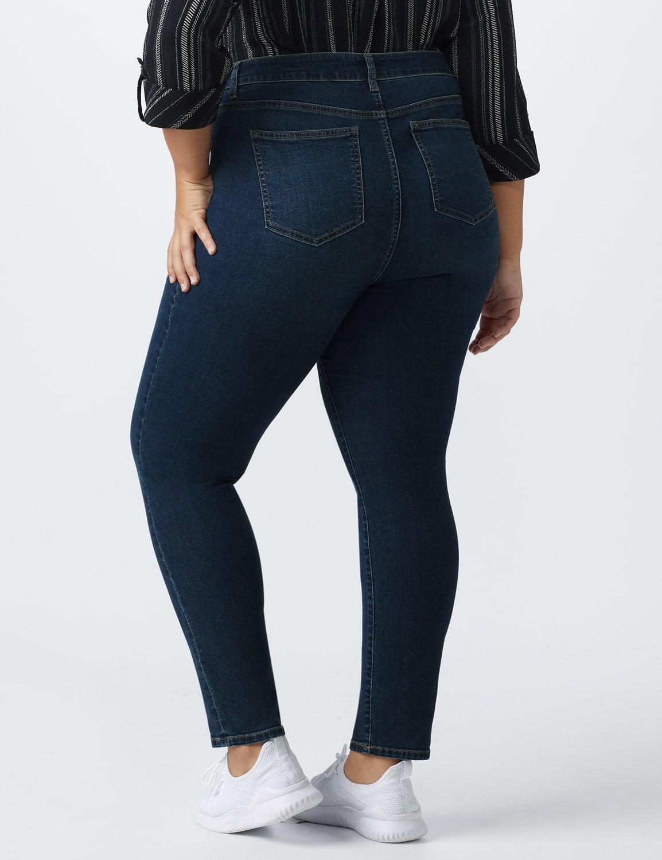 Plus- Westport Signature 5 Pocket Skinny Jean - Dark Wash - Back