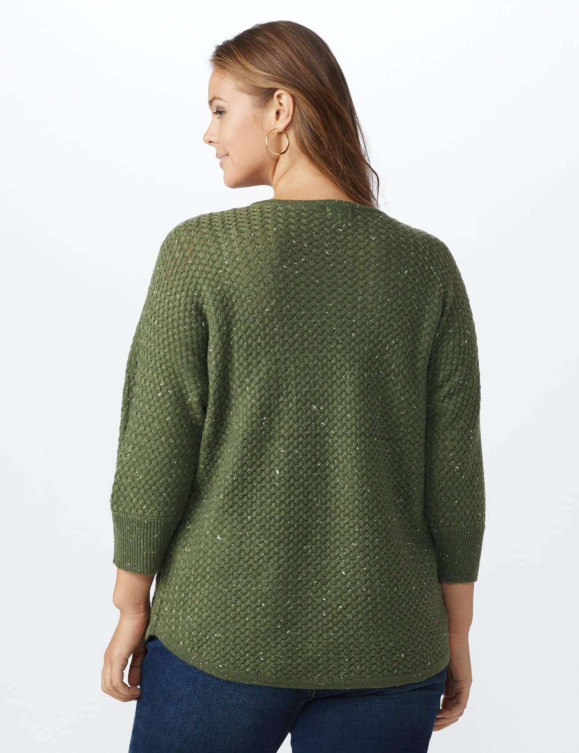 Westport Zig Zag Stitch Curved Hem Sweater - Plus - Dried Sage - Back