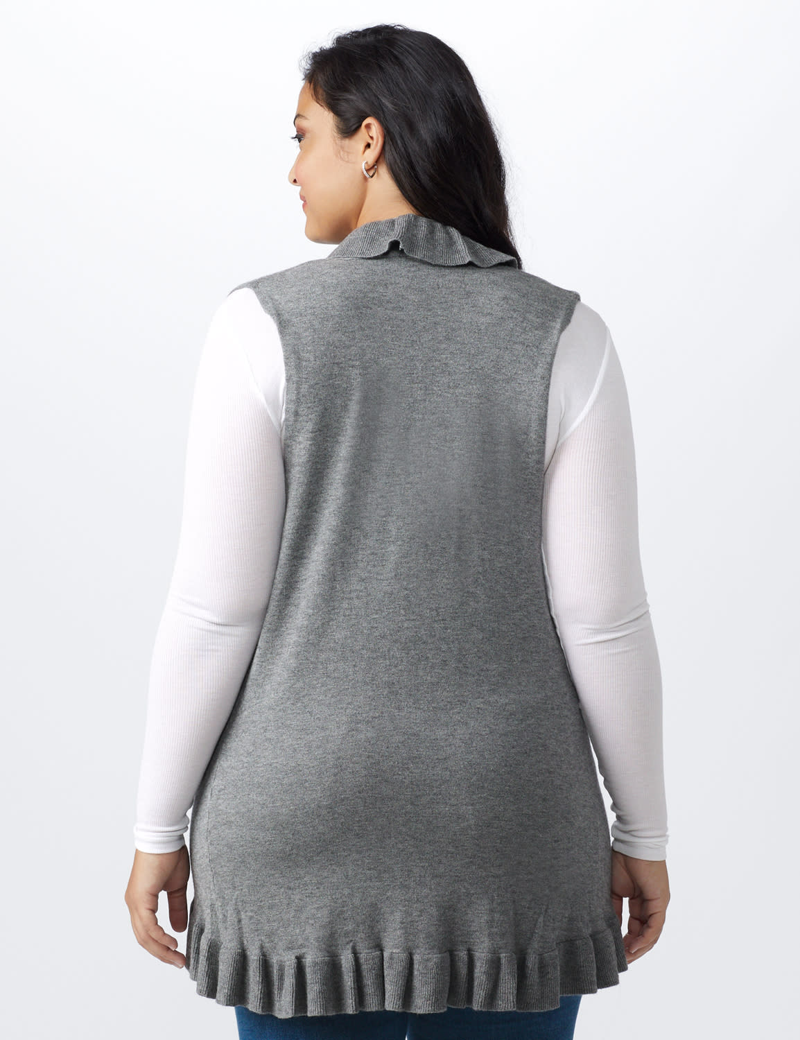 Roz & Ali Ruffle Sweater Vest - Plus - Heather Grey - Back