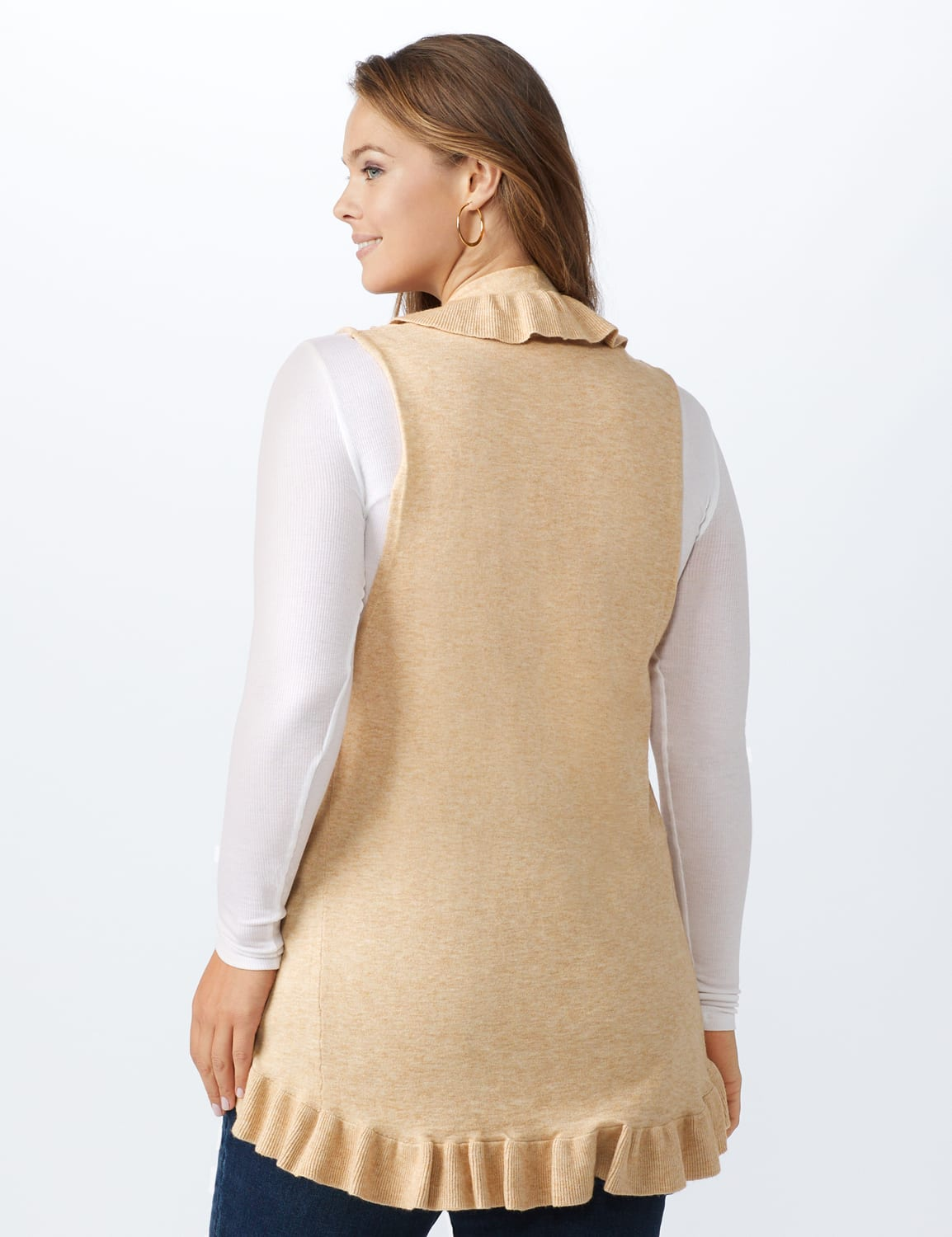 Roz & Ali Ruffle Sweater Vest - Plus - Oatmeal - Back