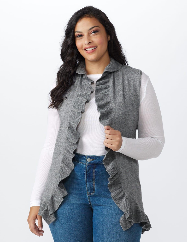 Roz & Ali Ruffle Sweater Vest - Plus - Heather Grey - Front