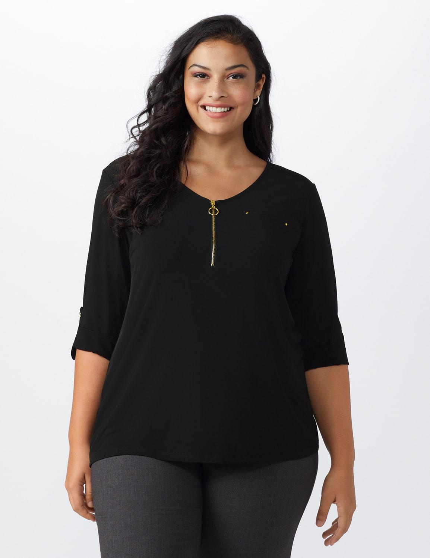 Roz & Ali Zip Front Knit Top - Plus - Black - Front