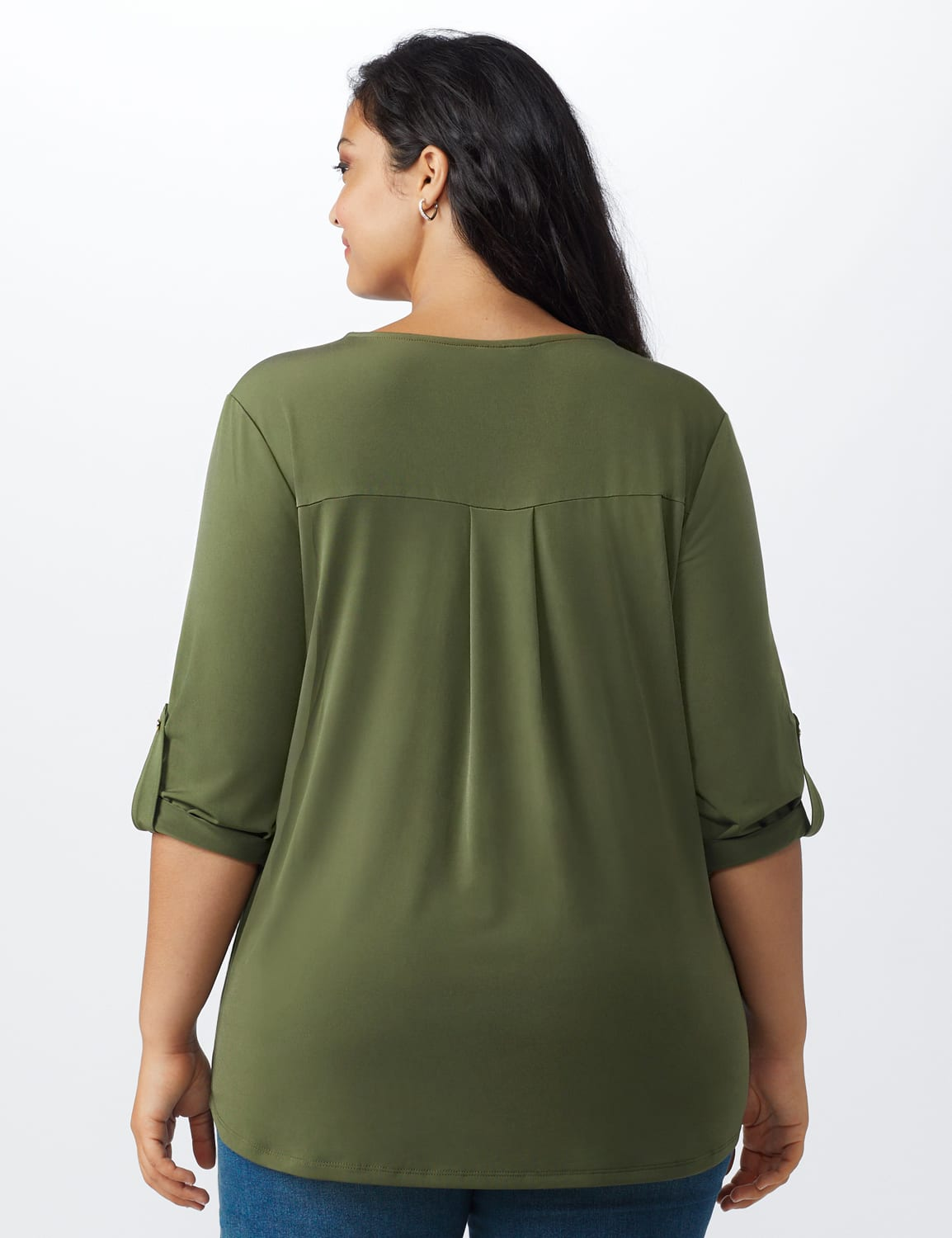 Roz & Ali Zip Front Knit Top - Plus - Olive - Back