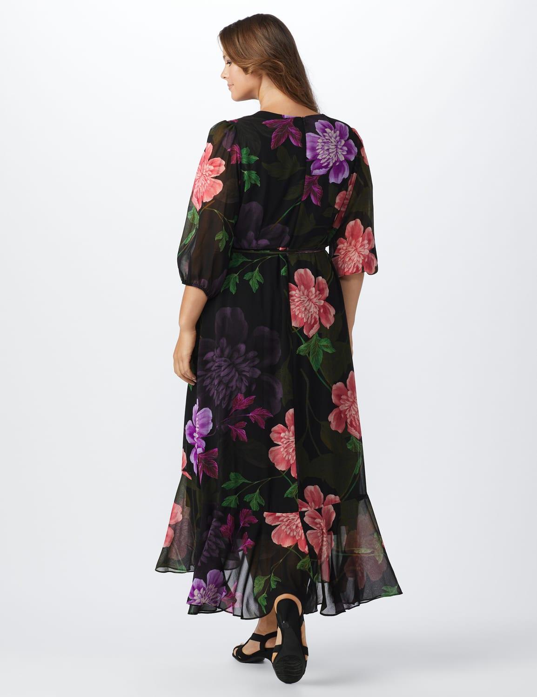 Large Floral Ruffle Dress - Plus - Black/Lilac - Back