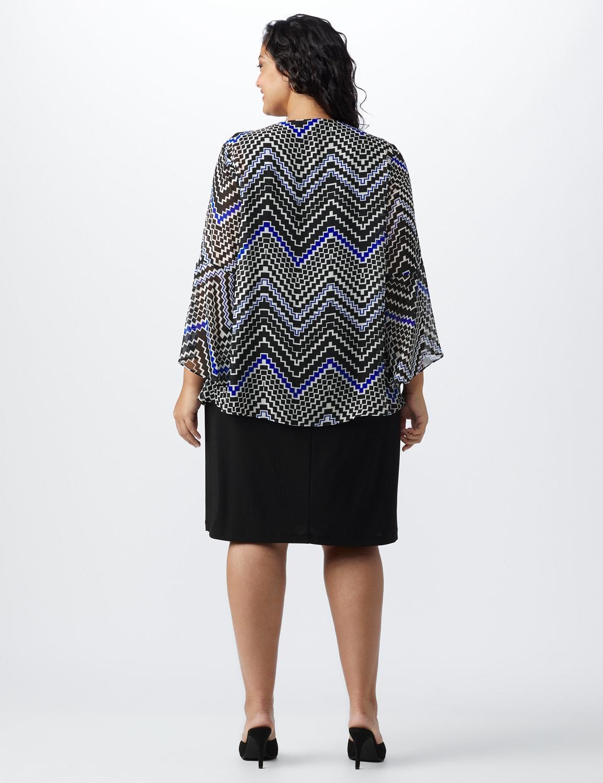 Chevron Chiffon Jacket Dress - Black/blue - Back