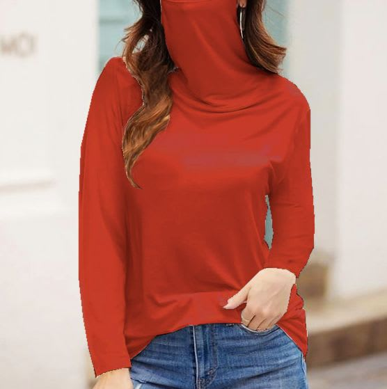 """Never Forget Your Mask"" Fashion Top - Brick - Front"