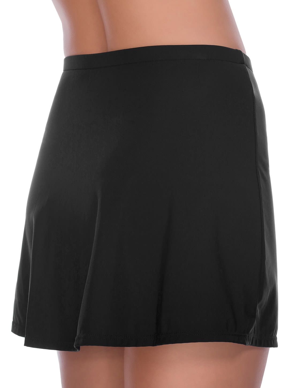 Penbrooke Side Slit Swimsuit Skirt Bottom - Black - Back