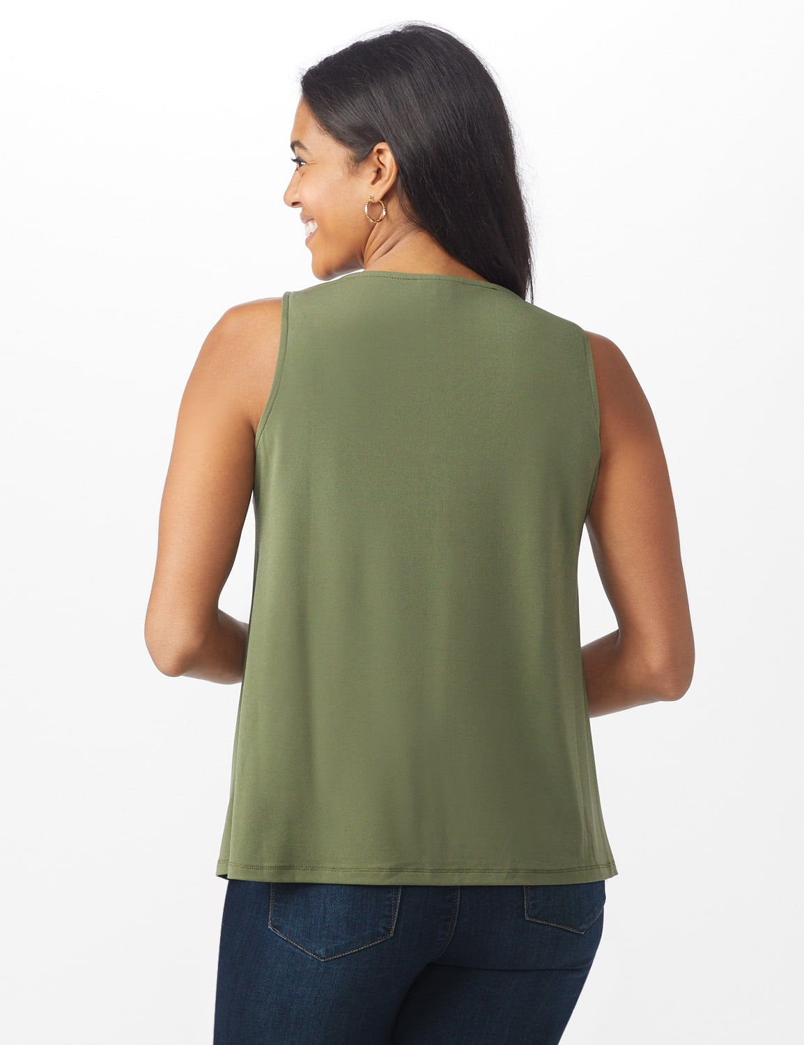 Roz & Ali Crochet Trim Crepe Hi/Lo Knit Top - Olive - Back