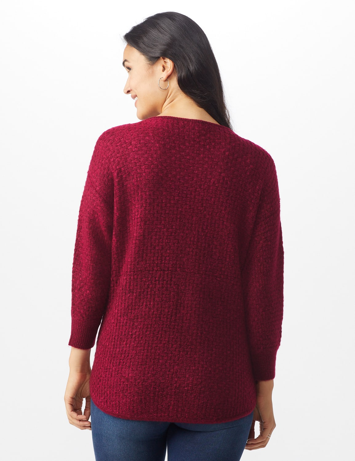 Westport Basketweave Stitch Curved Hem Sweater - Misses - Red - Back