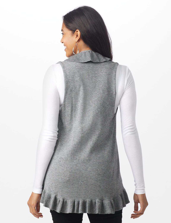 Roz & Ali Ruffle Sweater Vest - Misses - Heather Grey - Back