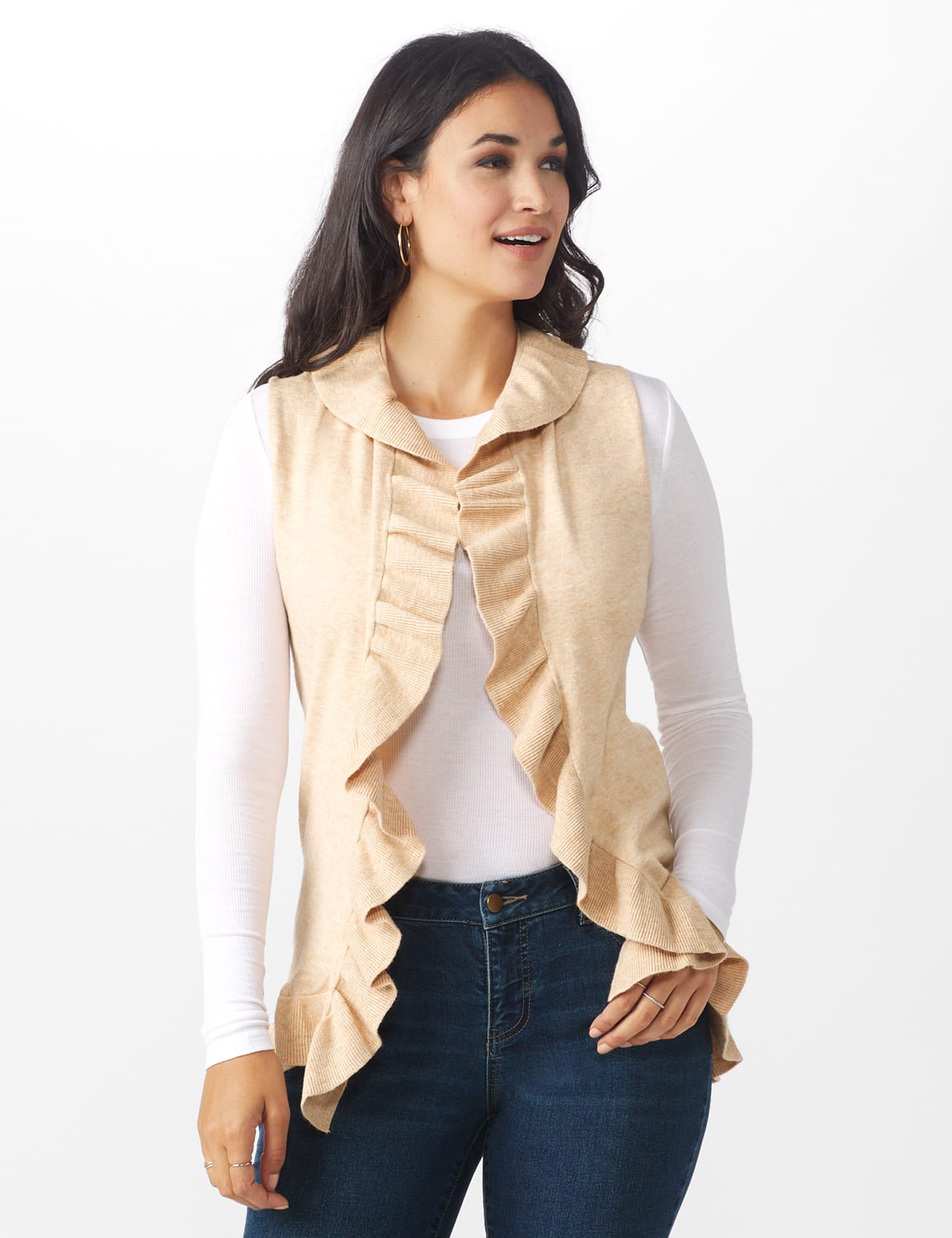 Roz & Ali Ruffle Sweater Vest - Misses - Oatmeal - Front