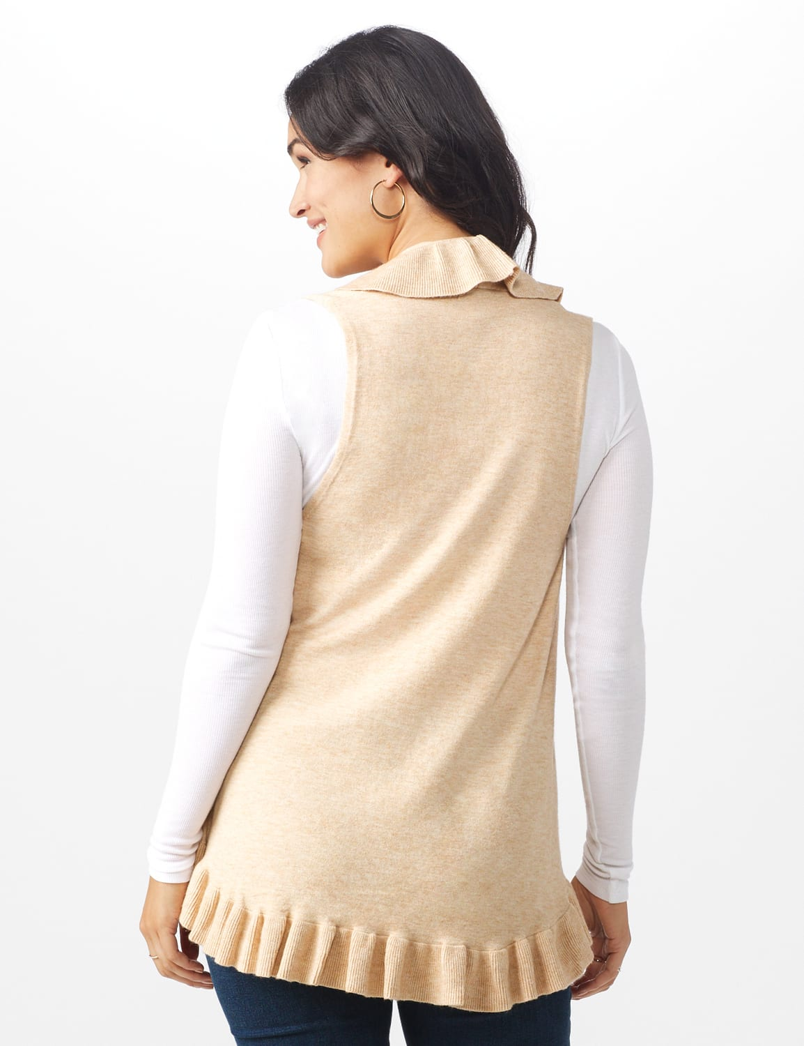Roz & Ali Ruffle Sweater Vest - Misses - Oatmeal - Back