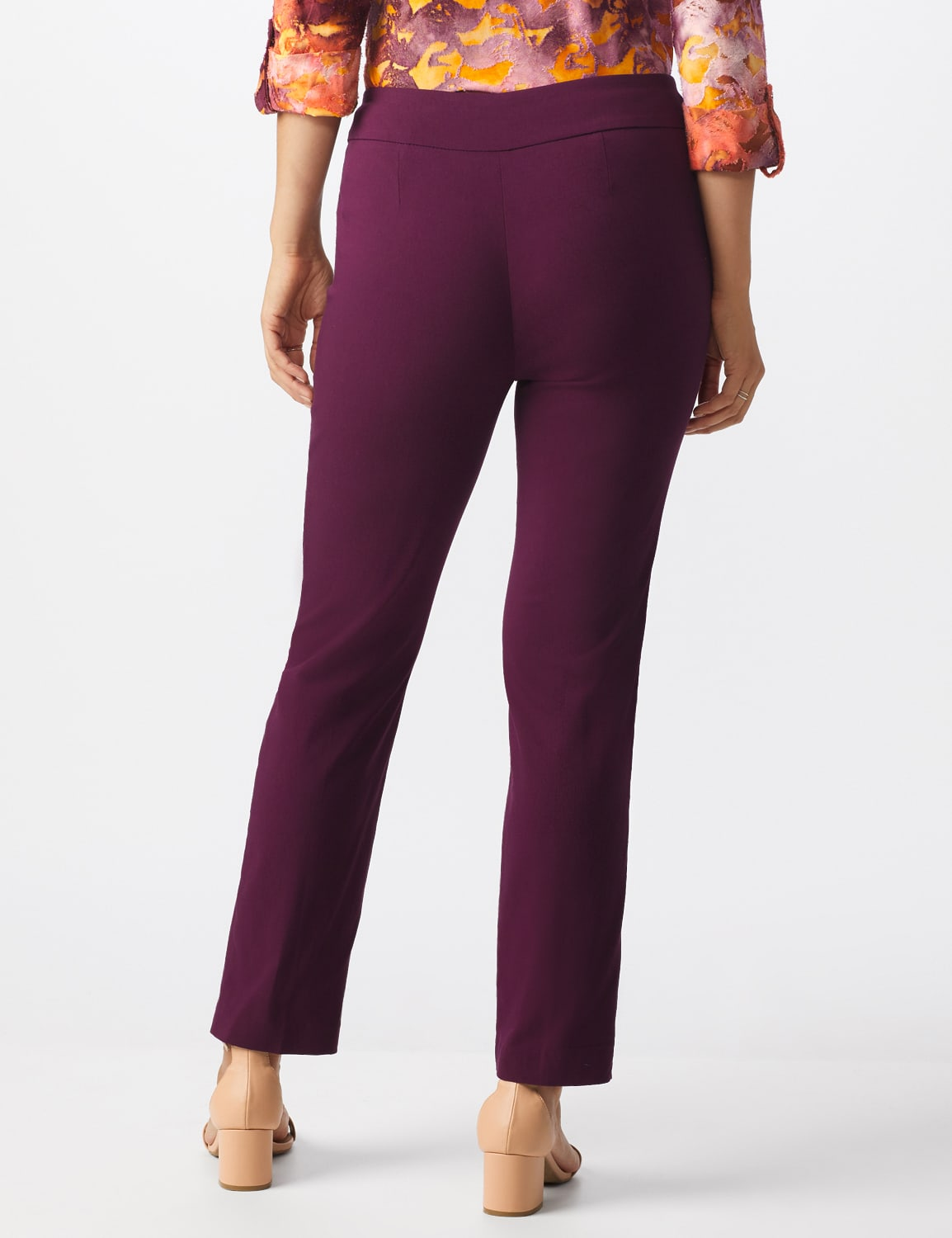 Superstretch Pull On Pants with Rivet Trim L Pockets - Plum - Back