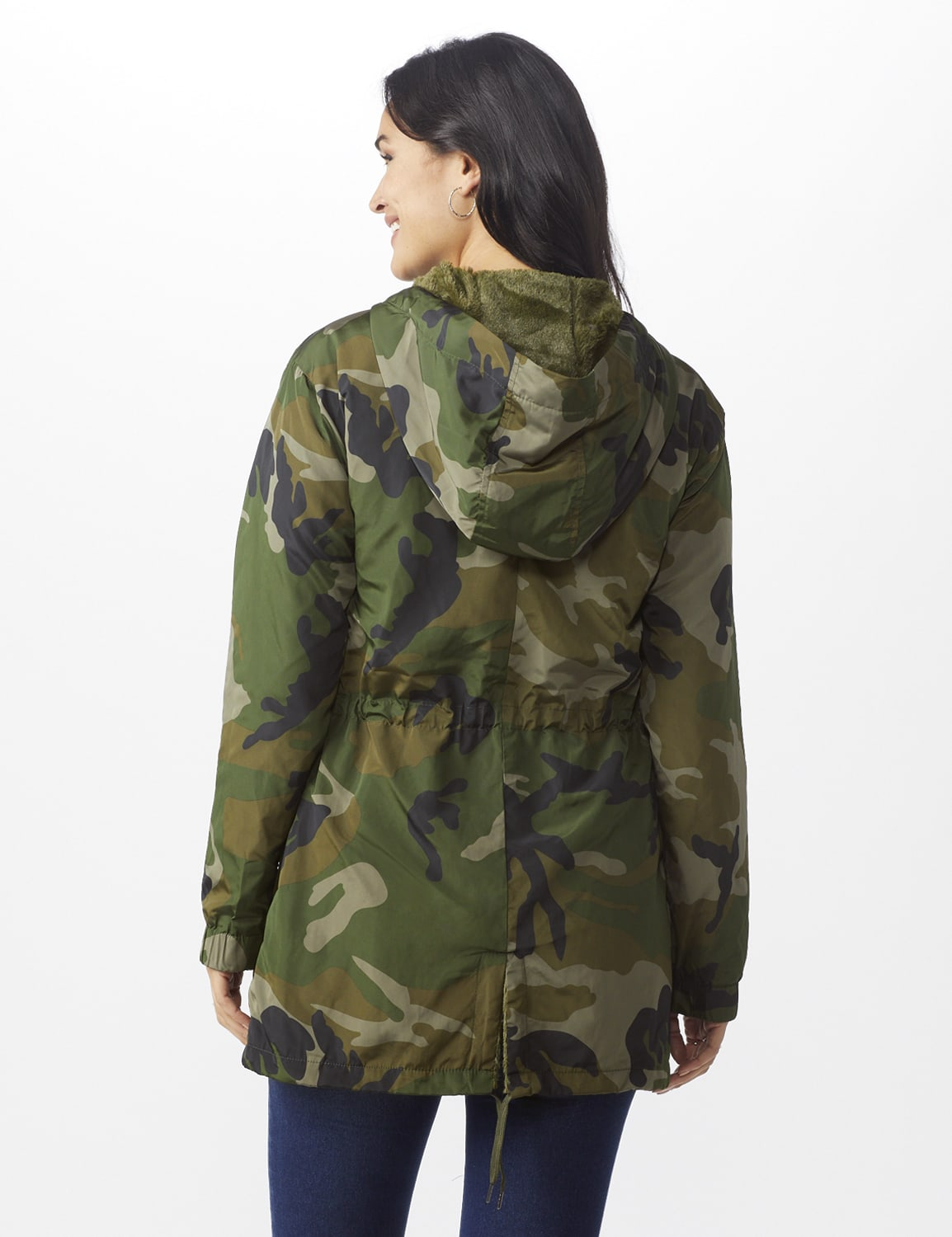 Long Nylon Anorak with Faux Fur Lining - Dark green camo - Back