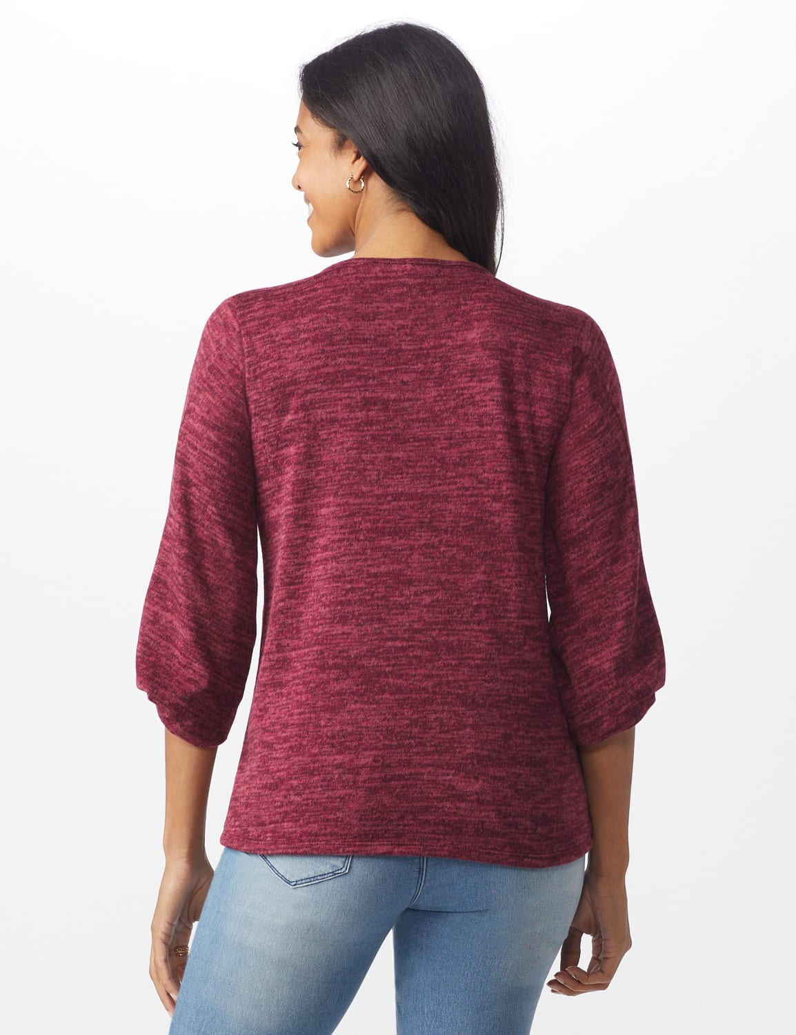 Button Shoulder V-Neck Hacci Top - Misses - Burgundy - Back