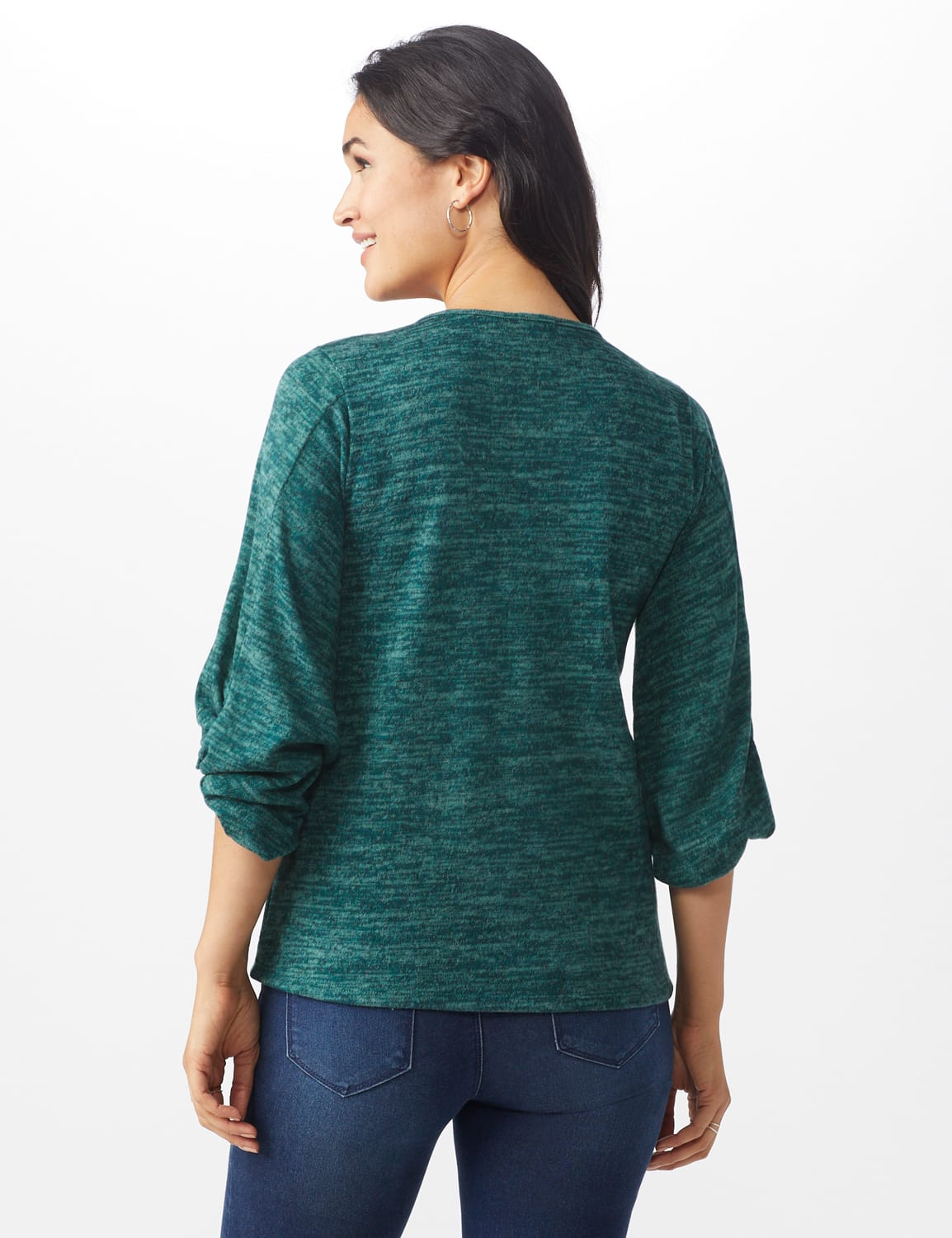 Button Shoulder V-Neck Hacci Top - Misses - Hunter - Back