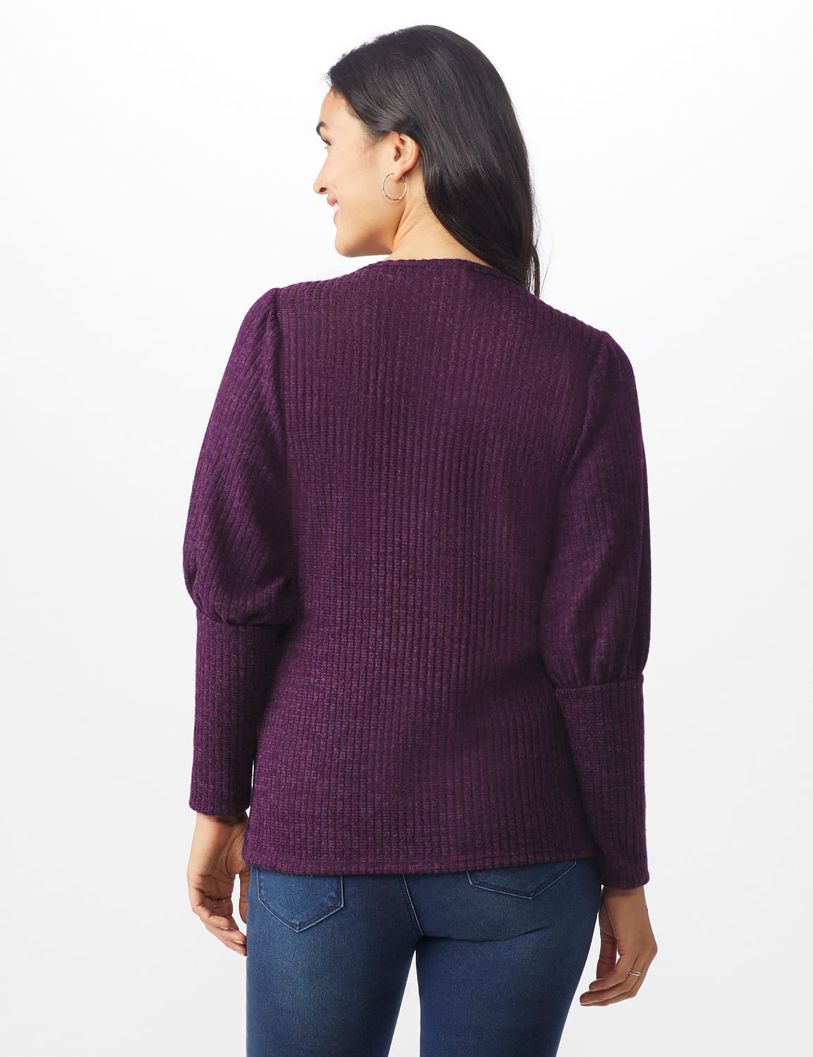 Puff Sleeve Hacci Rib Knit Top - Plum - Back