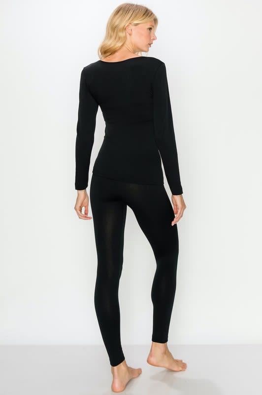 Fleece-Lined Lounge Set - Black - Back