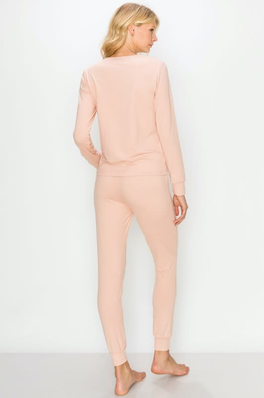 Brushed Peach Skin Lounge Set - Dusty Pink - Back
