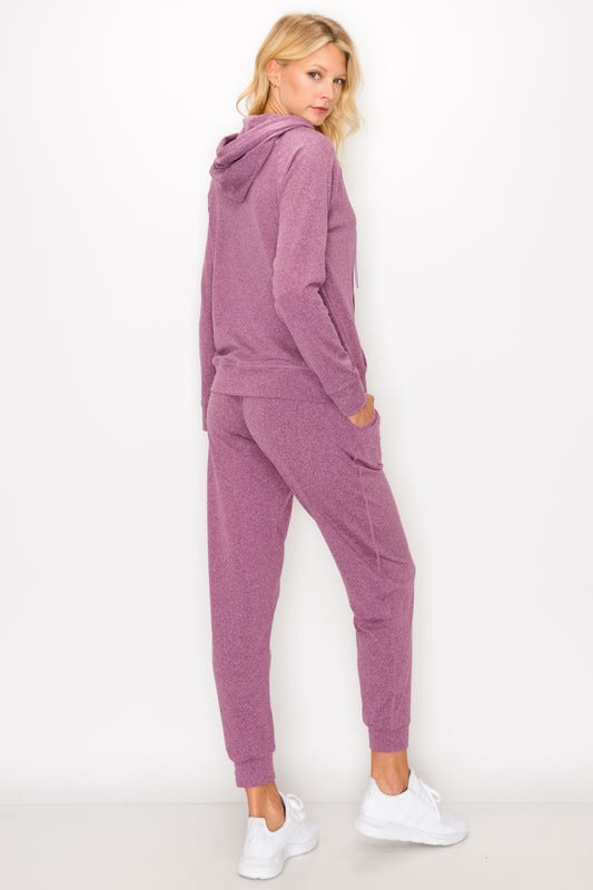 Fleece-Lined Hoodie and Jogger Set - Mauve - Back