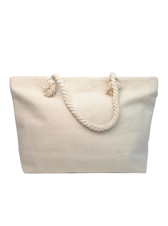 Flamingo x Palm Leaves Tote Beach Bag - Light Beige - Back