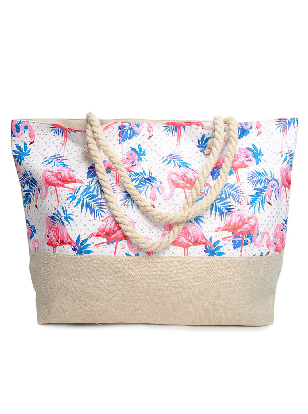 Flamingo x Palm Leaves Tote Beach Bag - Light Beige - Front