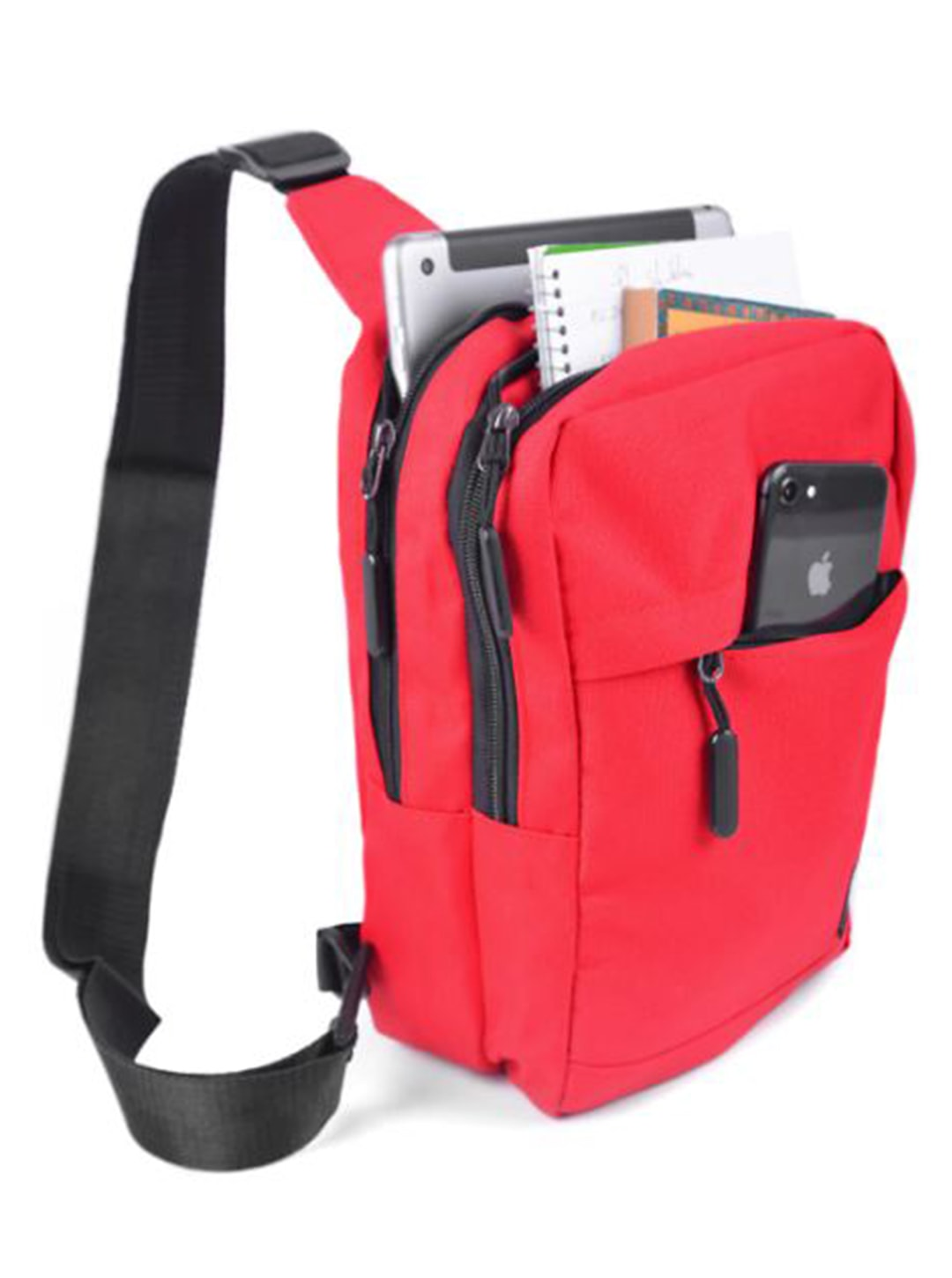Crossbody Sling Bag W/ Reversible Strap - Red - Front