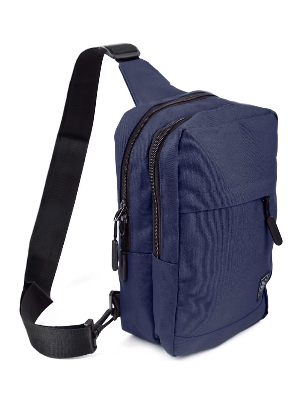 Crossbody Sling Bag W/ Reversible Strap - Navy - Back