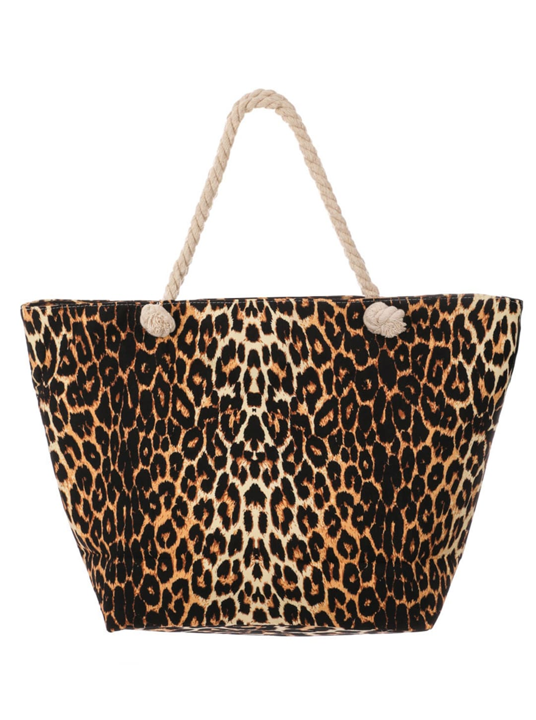 Leopard Print Canvas Summer Tote - Brown - Front