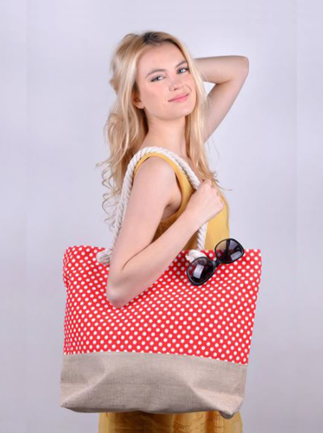 Toucan Tropical Tote Beach Bag - Red - Back