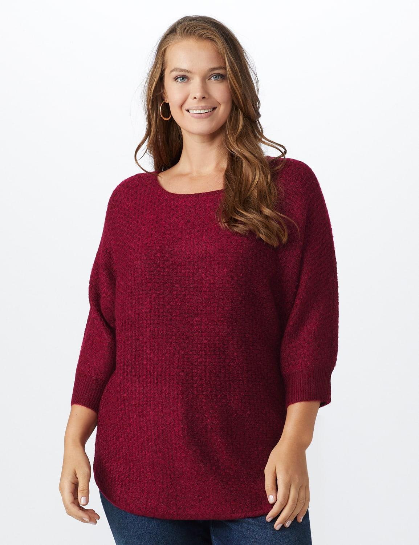 Westport Basketweave Stitch Curved Hem Sweater - Plus - Red - Front