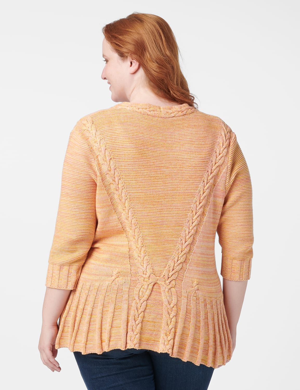 Roz & Ali Marled Button Cardigan - Oatmeal Combo - Back