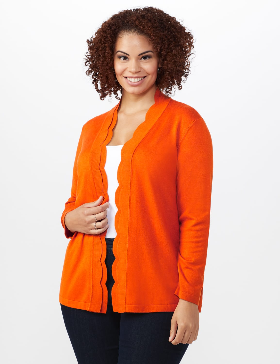Roz & Ali Scallop Trim Cardigan - Plus - Goldspice - Front