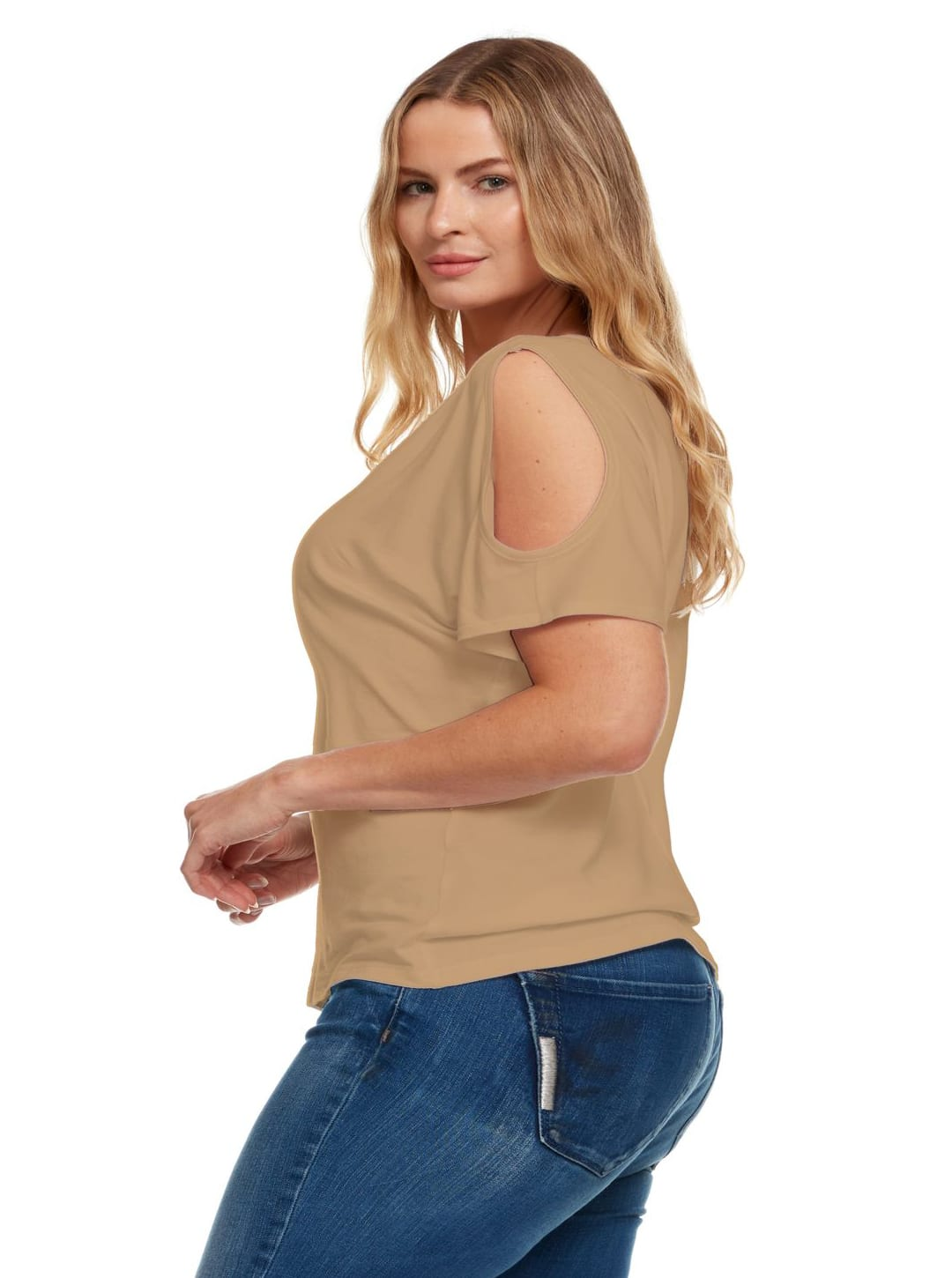 Cold Shoulder Basic V Neck Tee - Plus - Tan - Back