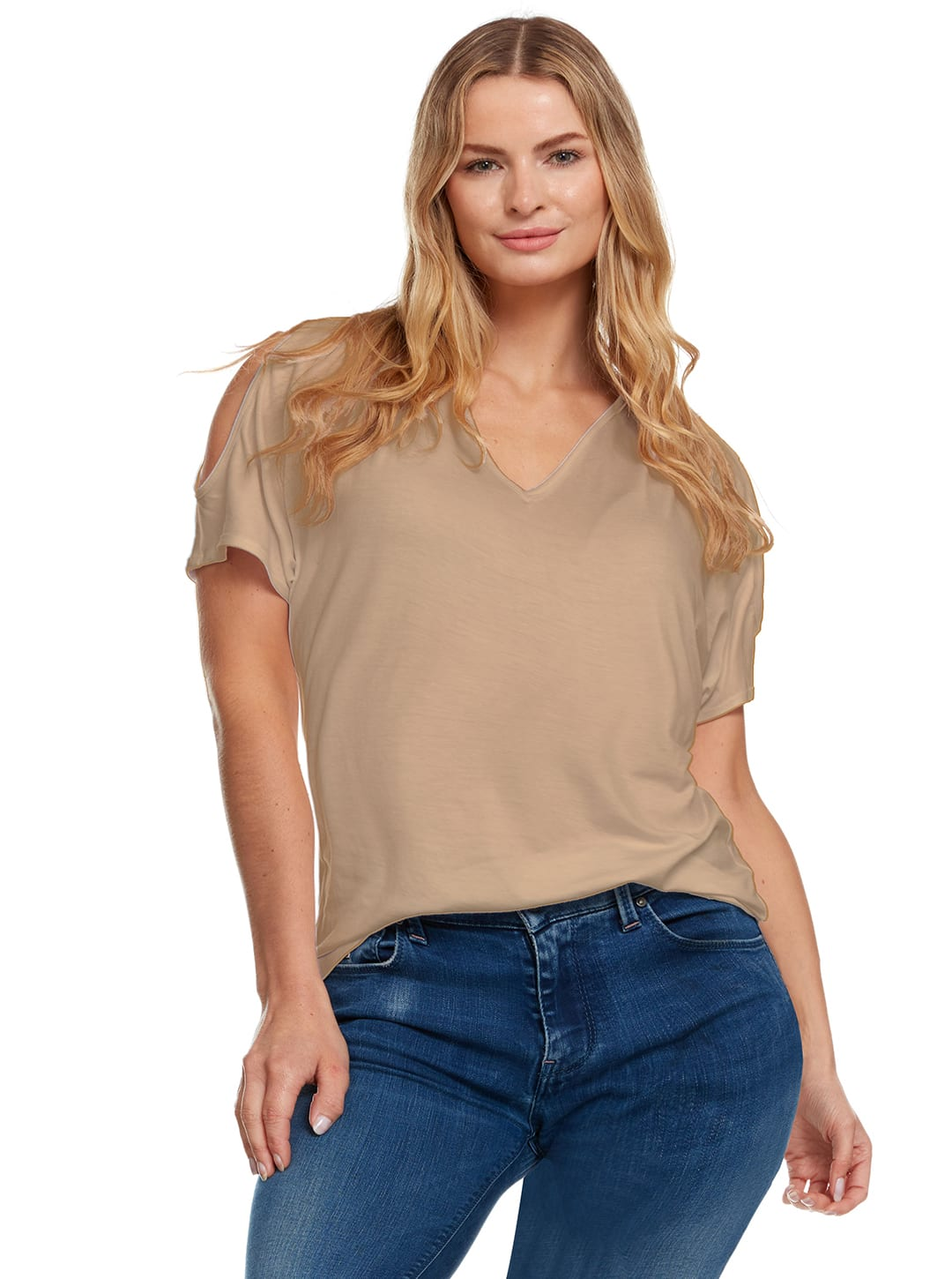 Cold Shoulder Basic V Neck Tee - Plus - Tan - Front