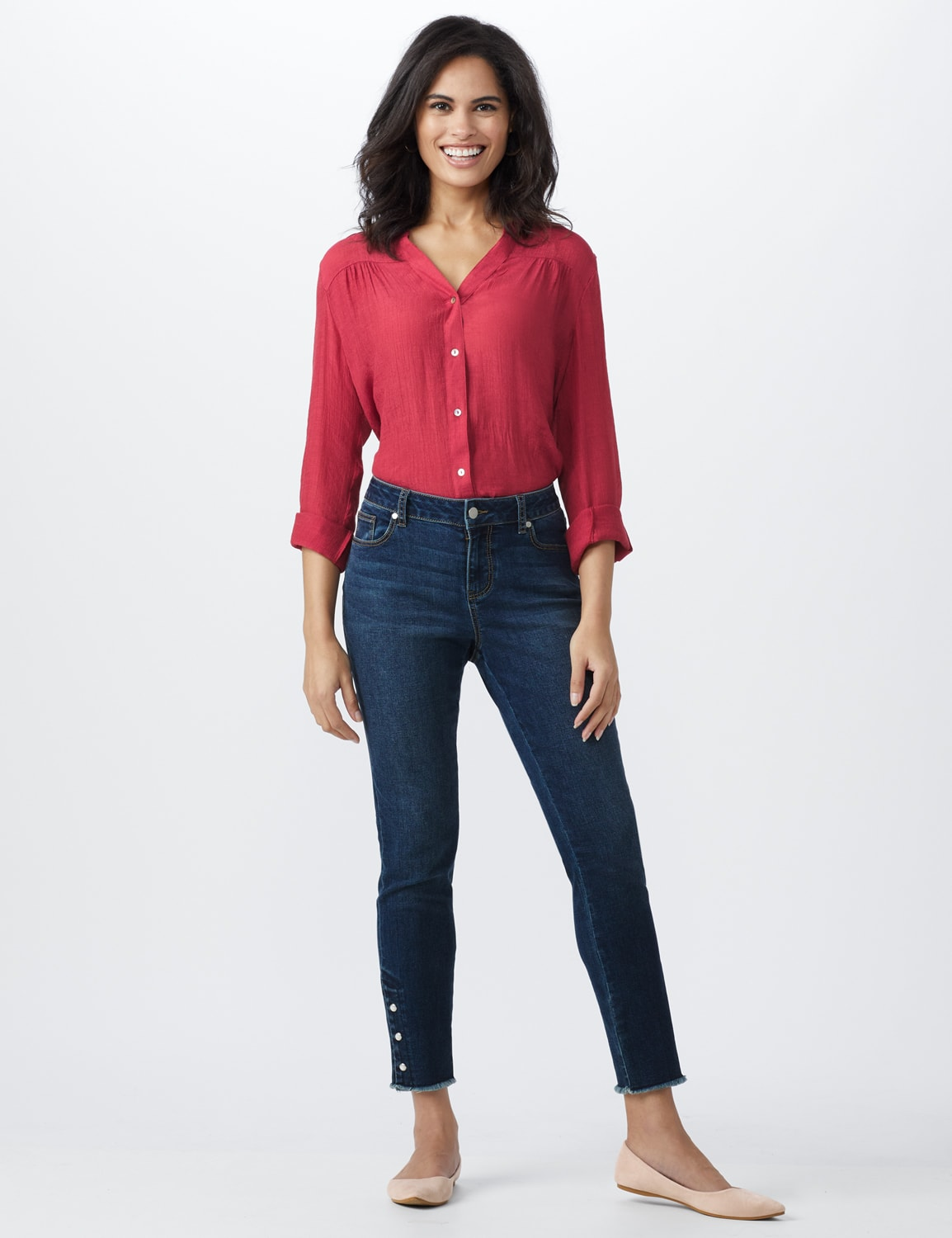 Westport Signature 5 Pocket Skinny Ankle Jean With Snap Button At Ankle - Misses - Dark Wash - Front