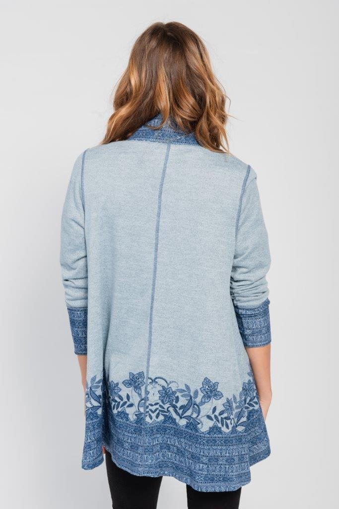 Pre-Order Border Print Open Knit Cardigan - Misses - Blue - Back