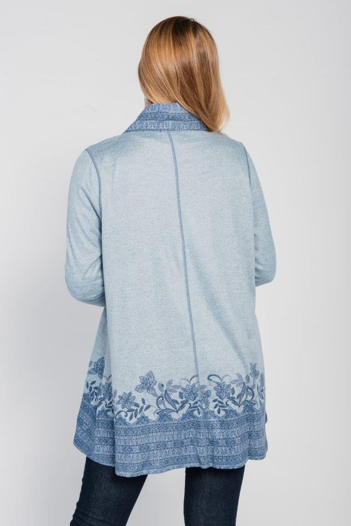 Border Print Open Knit Cardigan - Plus - Blue - Back