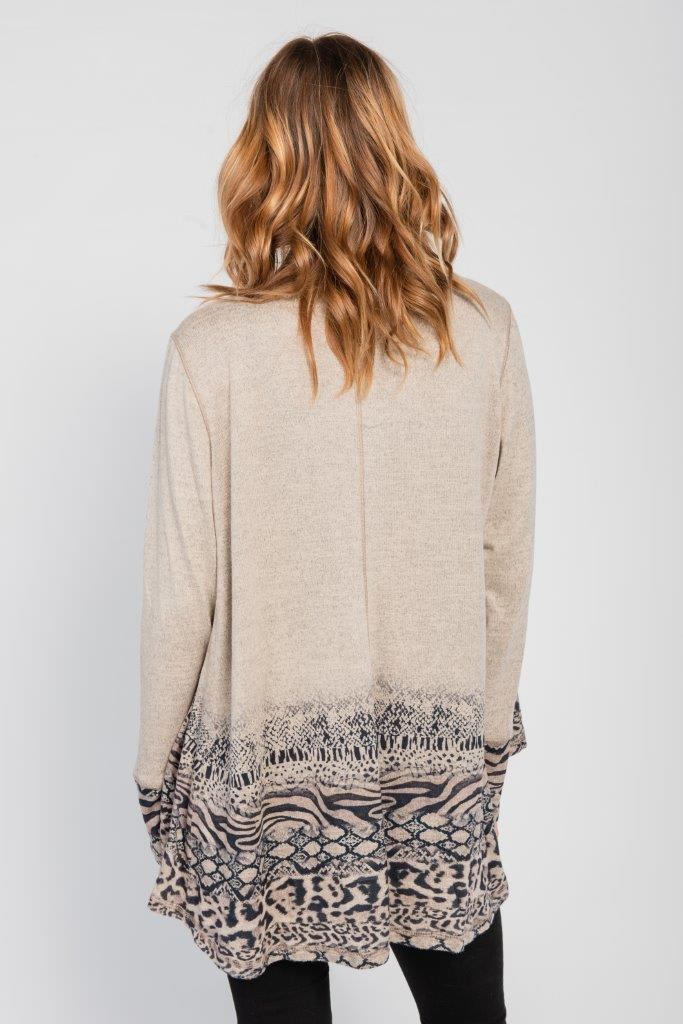 Pre-Order Border Print Open Knit Cardigan - Misses - Brown - Back